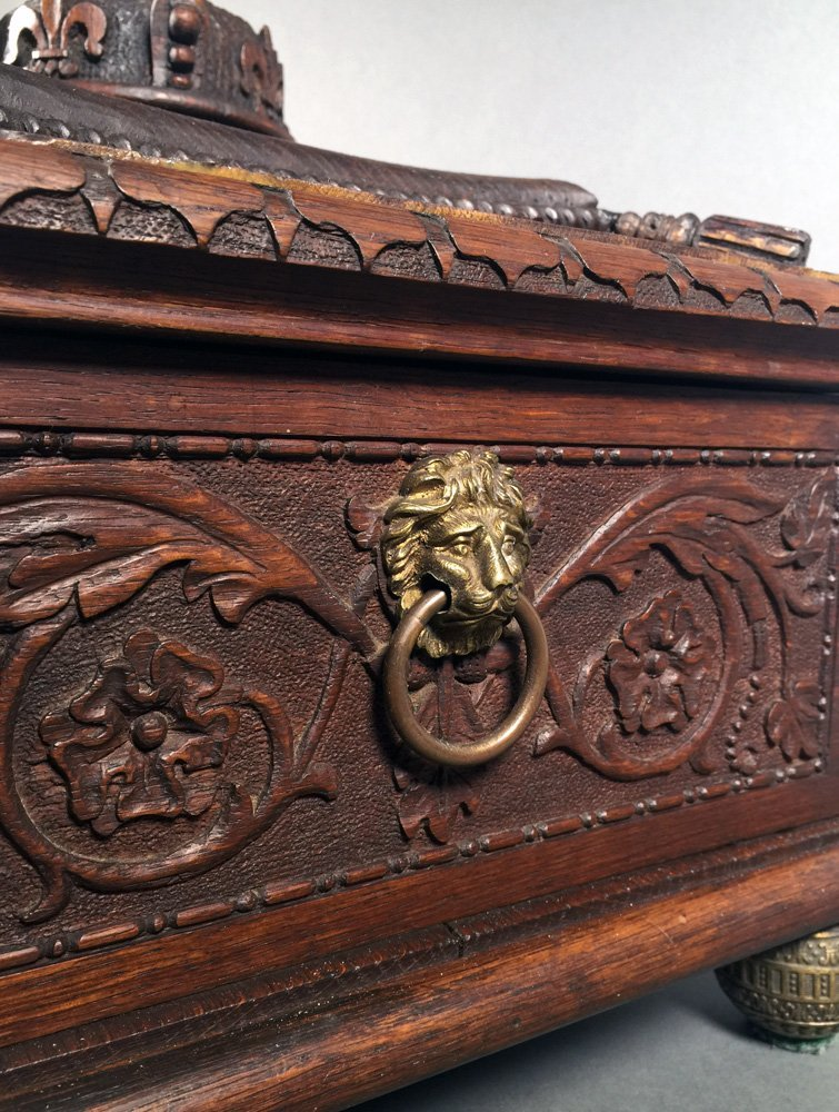 Fancy Victorian Oak BIBLE BOX Carved Casket Trunk - 3