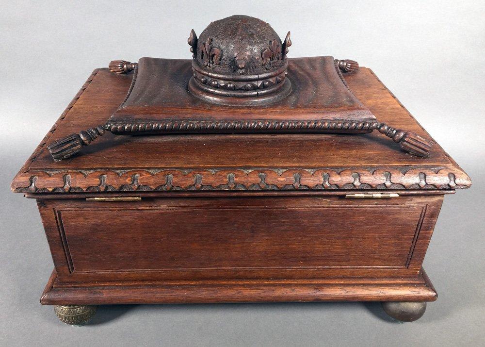 Fancy Victorian Oak BIBLE BOX Carved Casket Trunk - 6