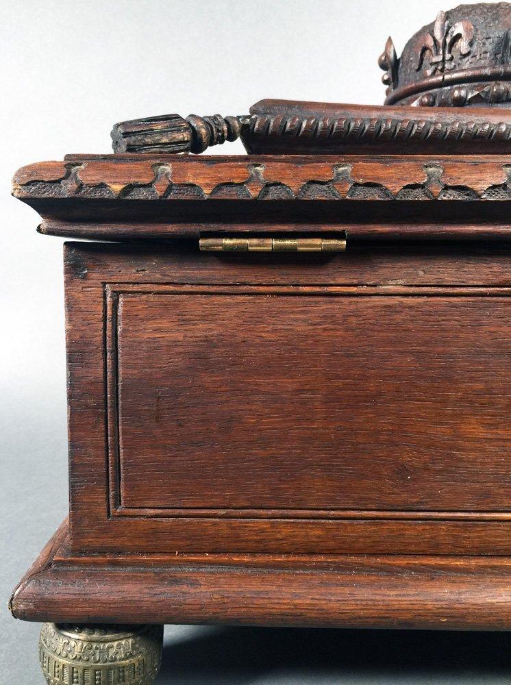 Fancy Victorian Oak BIBLE BOX Carved Casket Trunk - 7