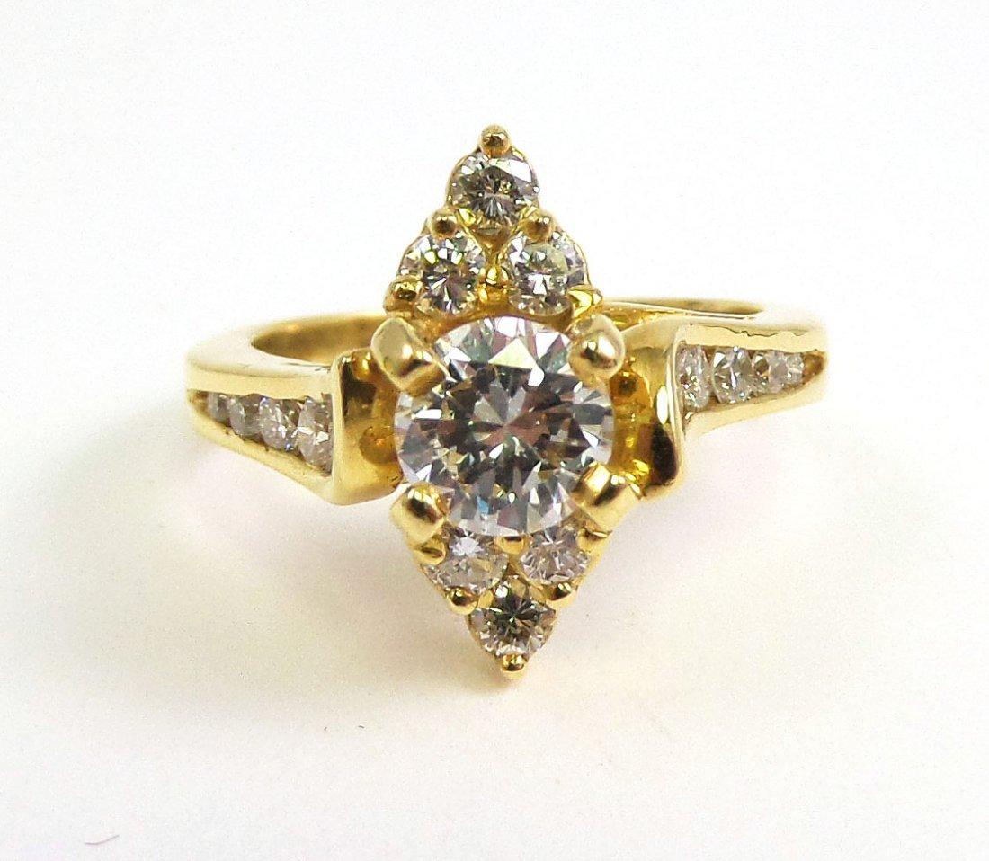 18k Yellow Gold DIAMOND RING, .95 cttw