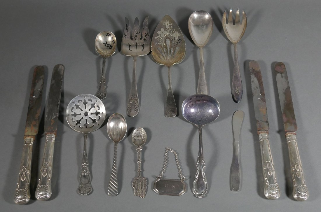 Tray of 15 Antique Silver Flatware Serving Pieces
