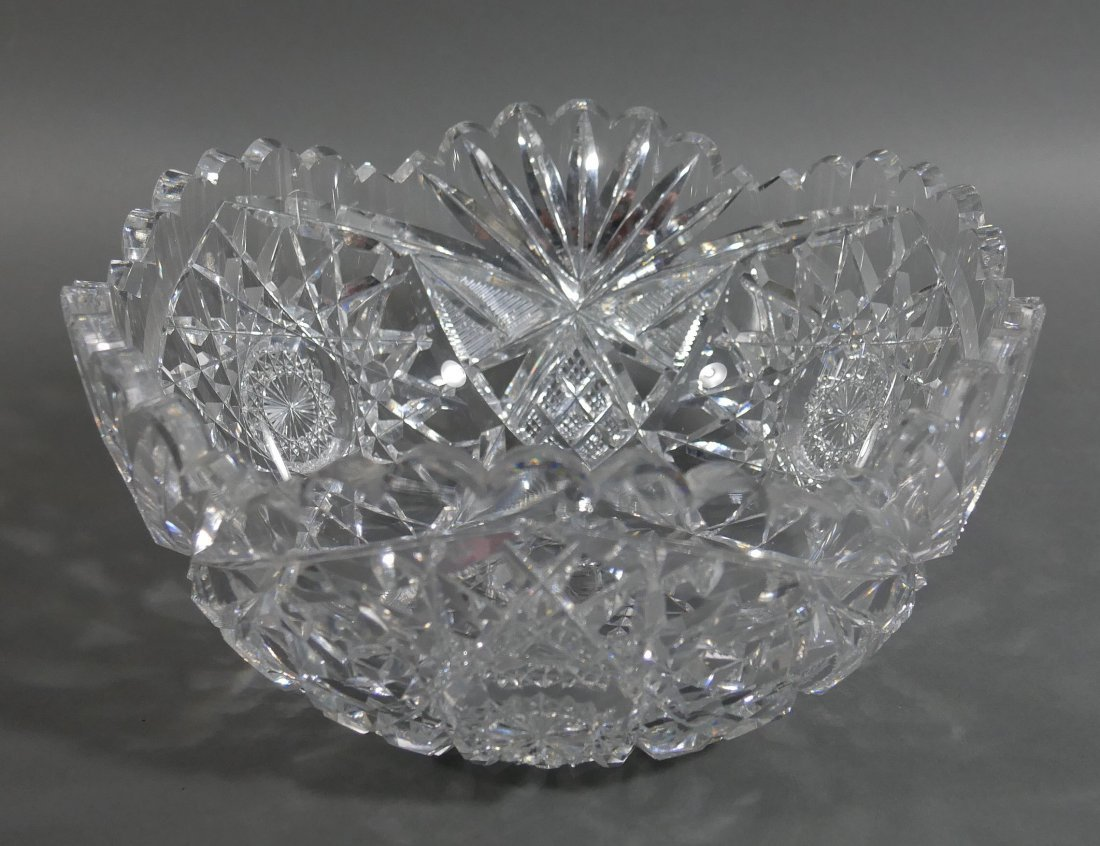 """Large HAWKES Signed Cut Glass 10"""" Berry Bowl ABP"""