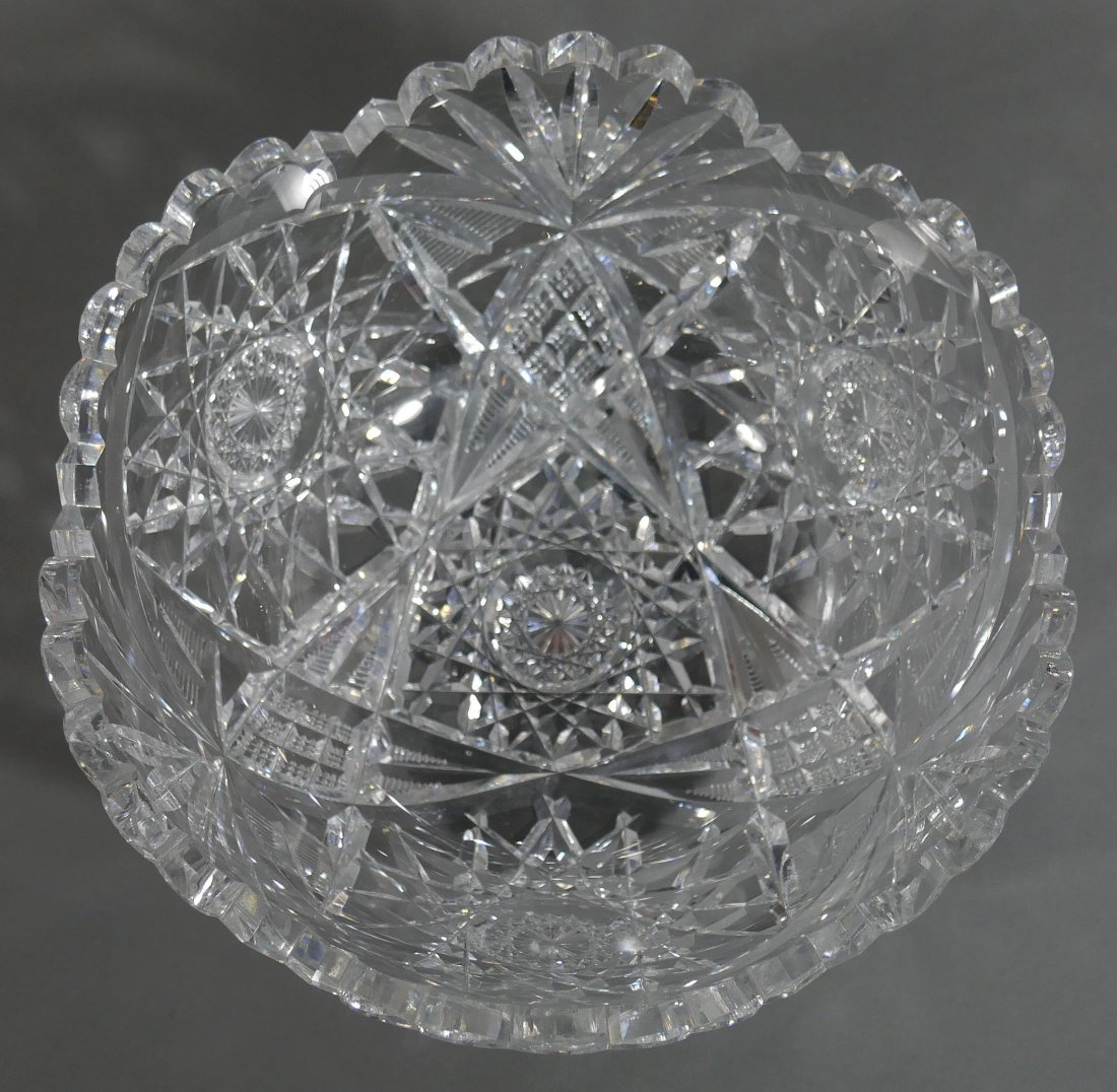 """Large HAWKES Signed Cut Glass 10"""" Berry Bowl ABP - 3"""