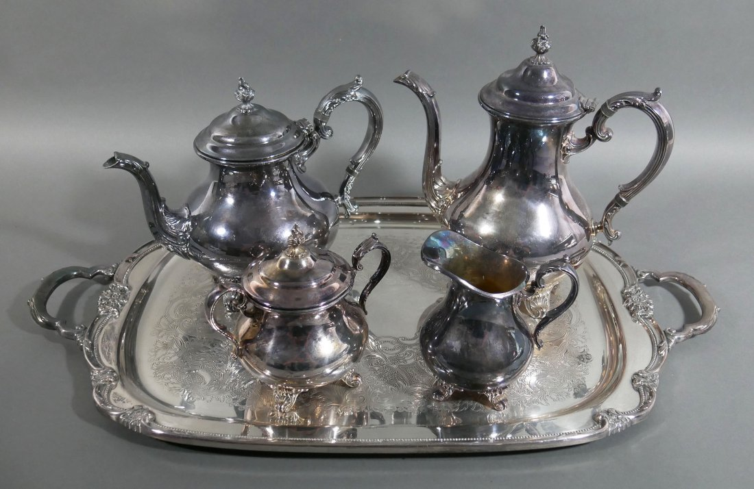 Gorham Silverplate Tea and Coffee Set w Tray