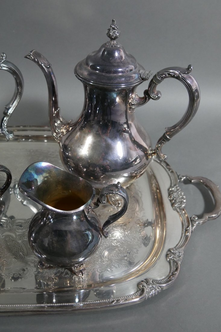 Gorham Silverplate Tea and Coffee Set w Tray - 2