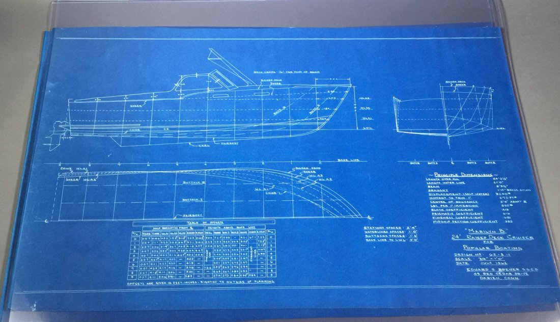 2 Sets of 1960s YACHT Boat Cruiser Blueprints - 3