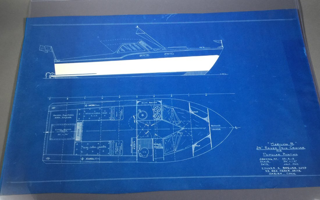 2 Sets of 1960s YACHT Boat Cruiser Blueprints - 4