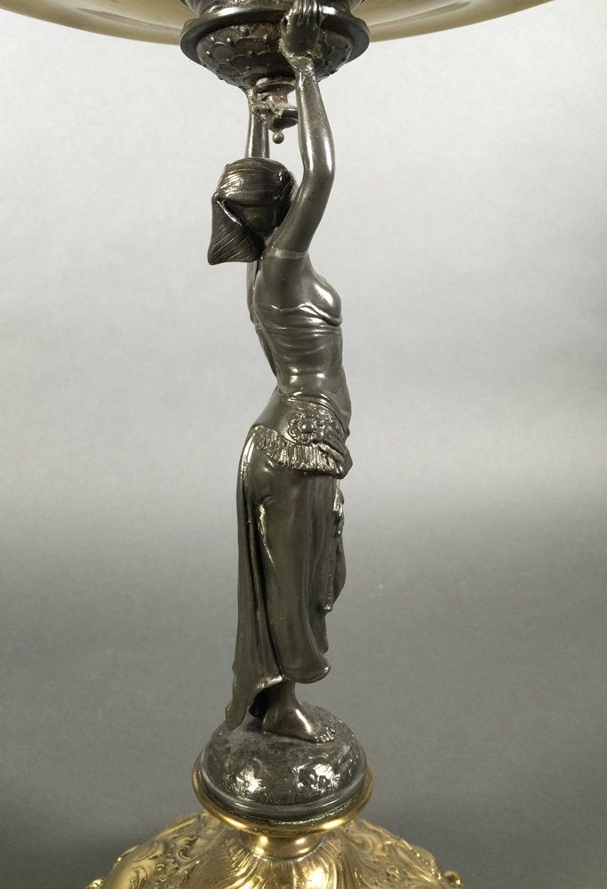 Old EGYPTIAN REVIVAL Figural Mixed Metal Tazza - 5