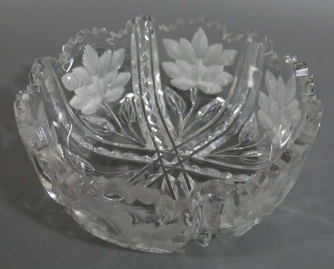 """LIBBEY Signed ABP Cut Glass 8"""" Berry Bowl"""