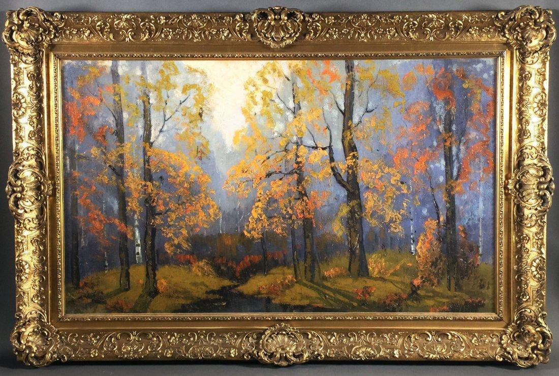 "Oil Painting, ERNEST T FREDERICKS, ""Autumn Woods"""