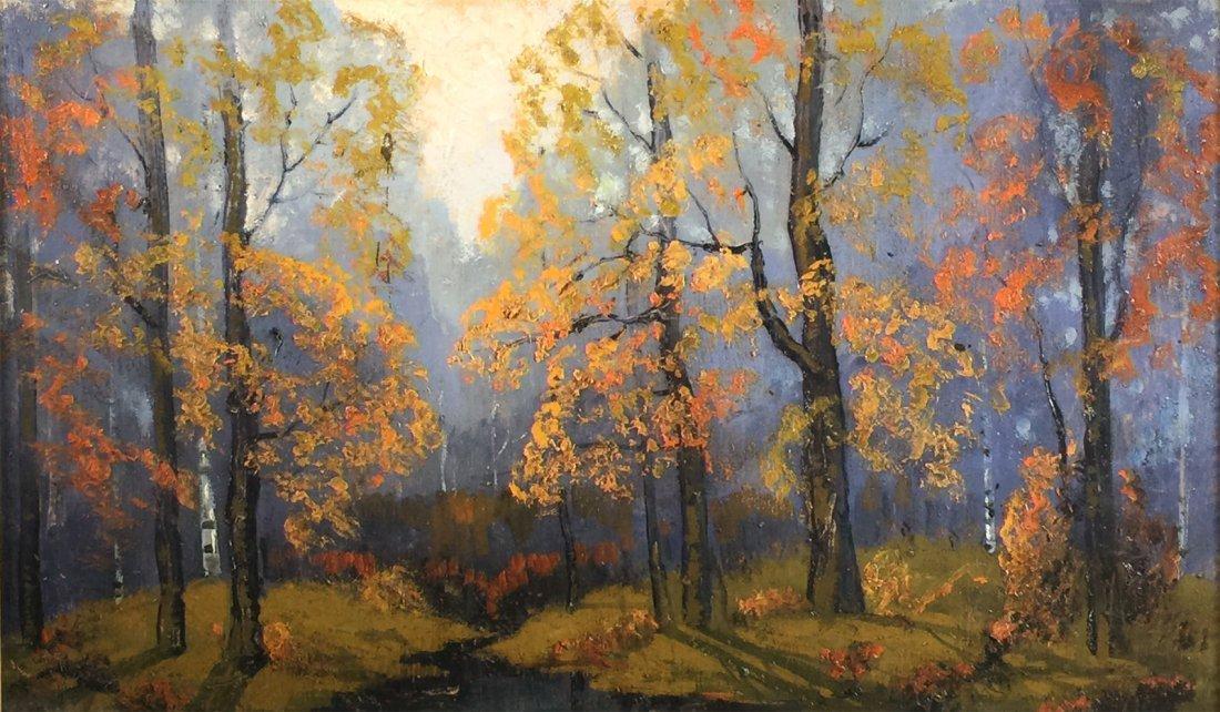 "Oil Painting, ERNEST T FREDERICKS, ""Autumn Woods"" - 2"