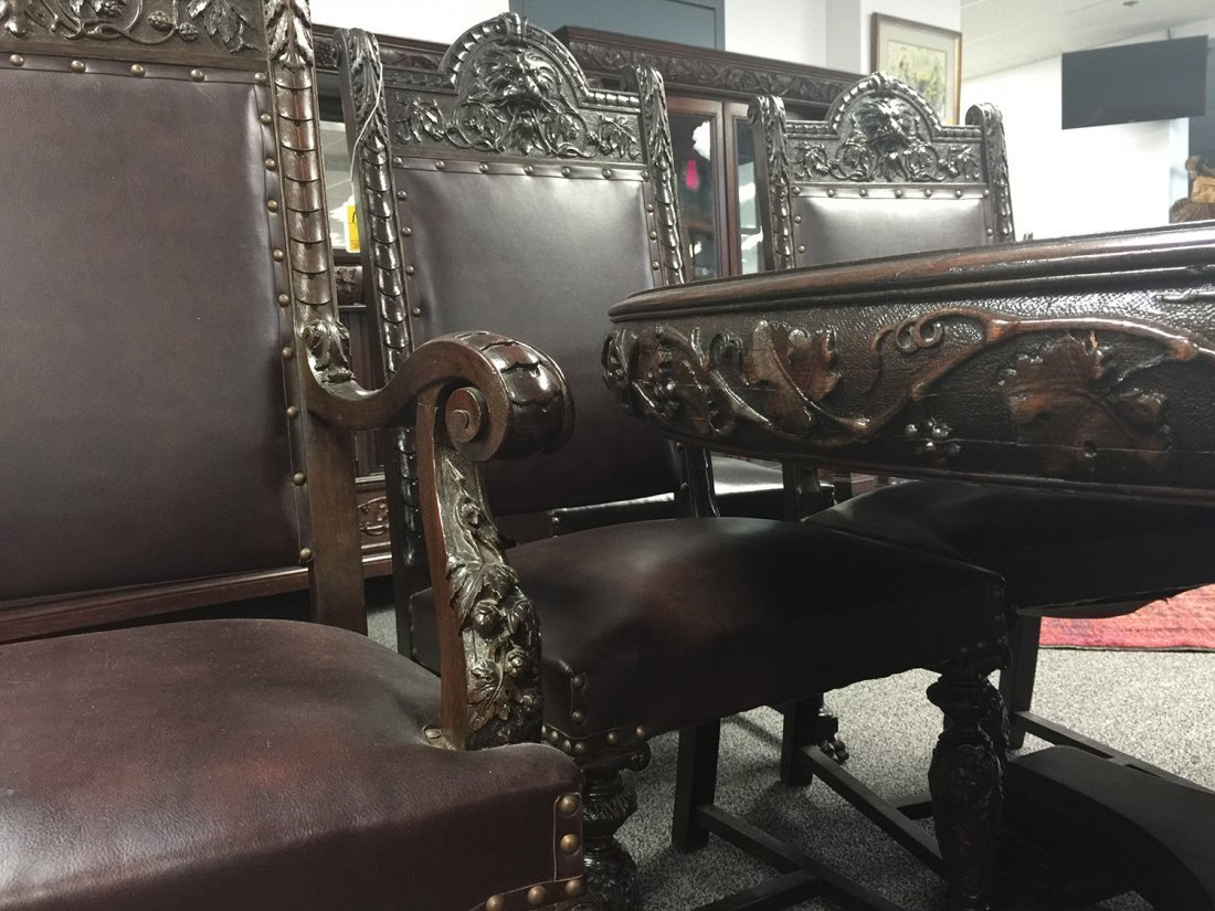 RJ HORNER Carved DINING TABLE, 6 Chairs - 6