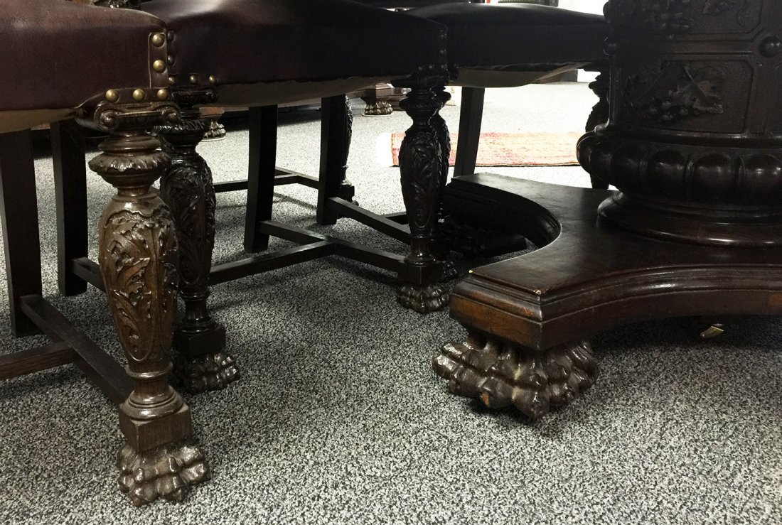 RJ HORNER Carved DINING TABLE, 6 Chairs - 7