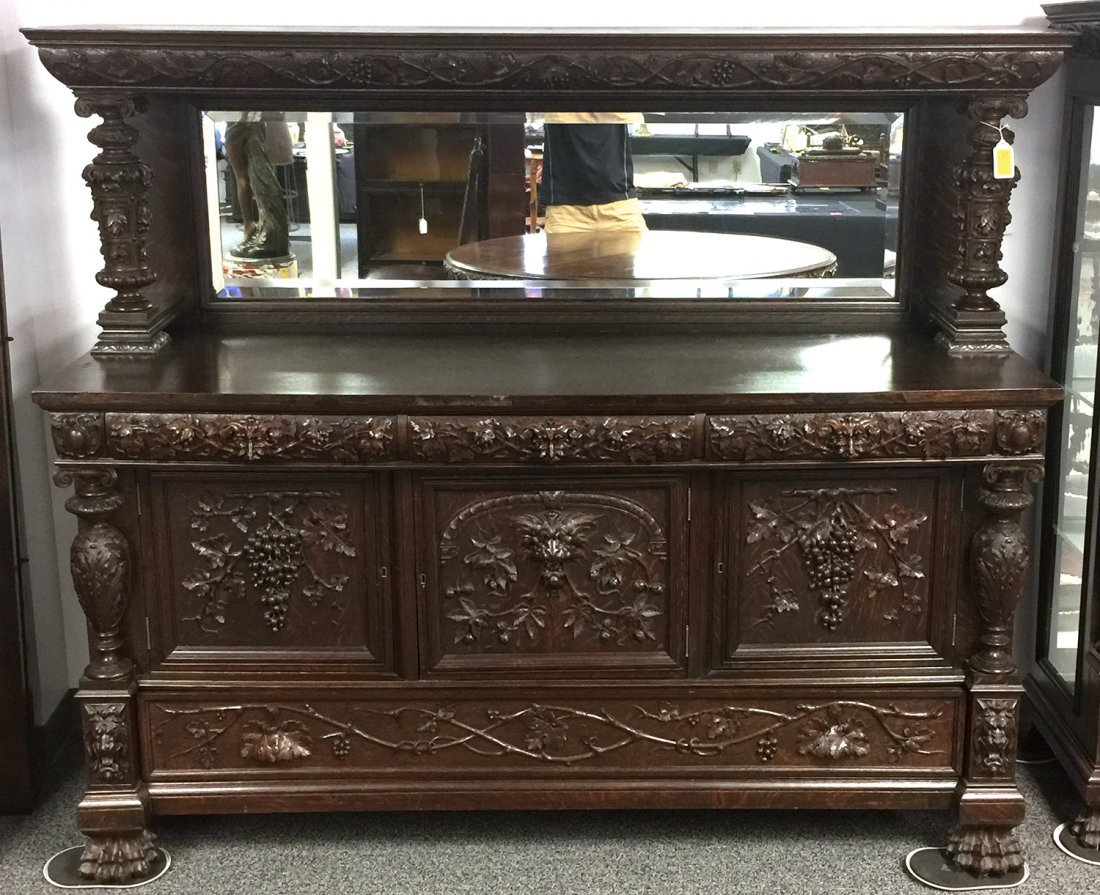RJ HORNER Carved Grapes & Lions SIDEBOARD