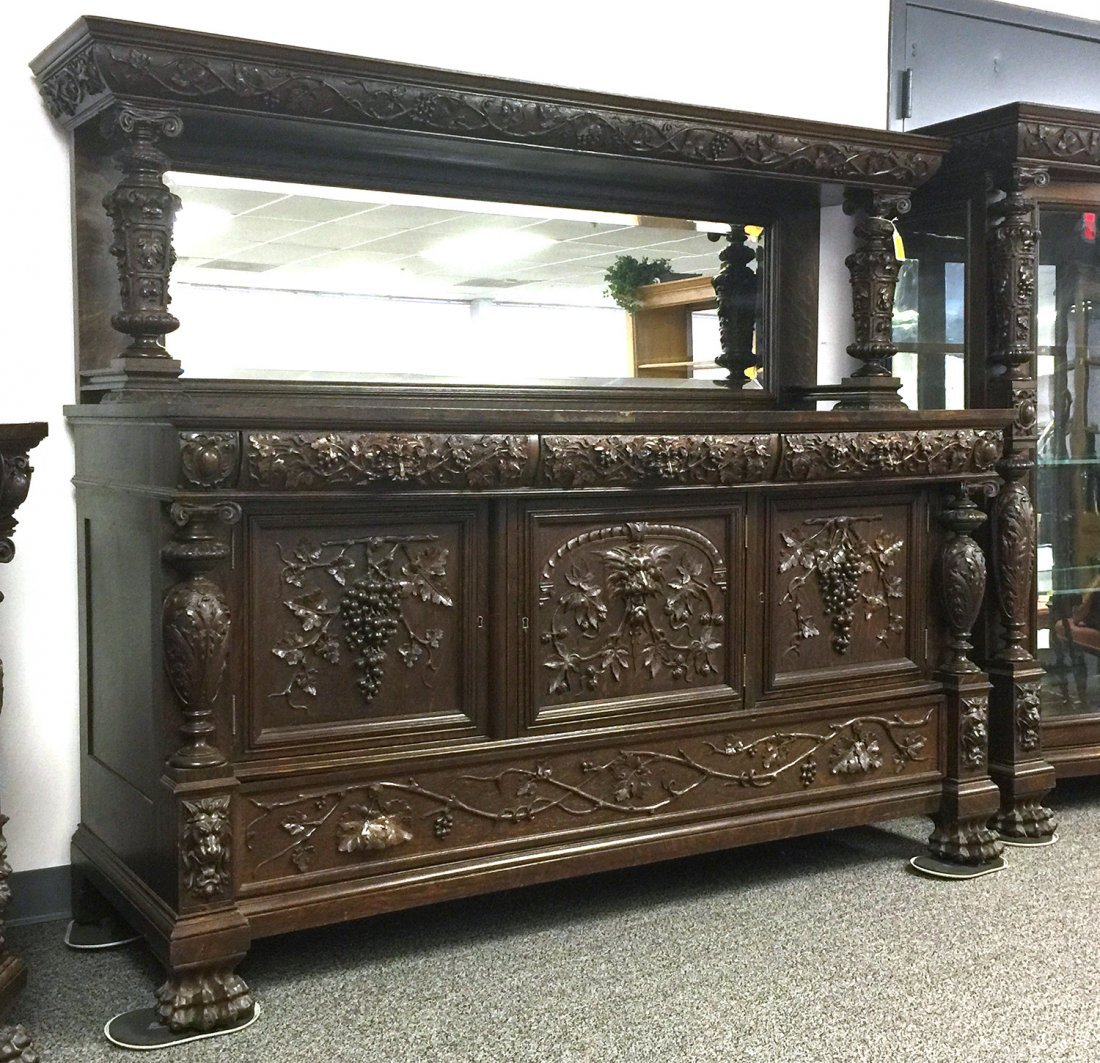 RJ HORNER Carved Grapes & Lions SIDEBOARD - 9