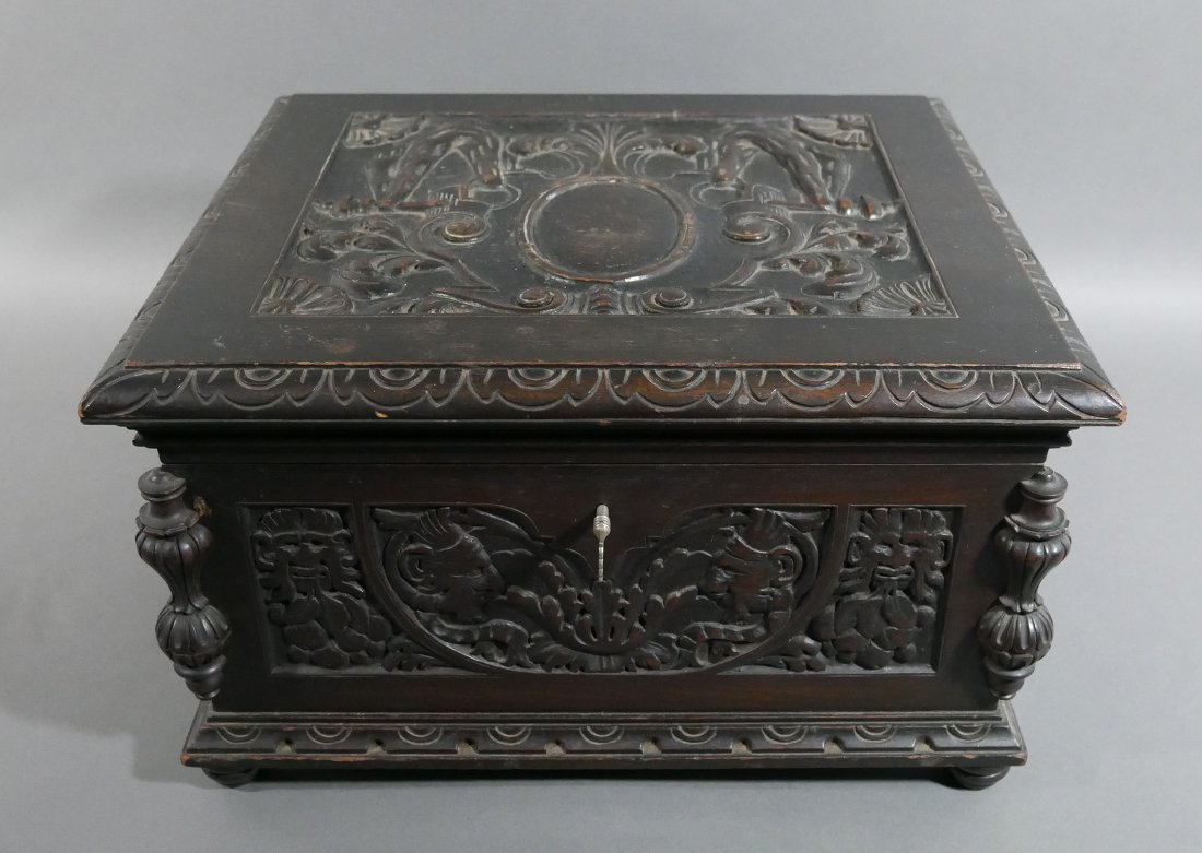 Old Victorian Carved English Oak Cigar Humidor