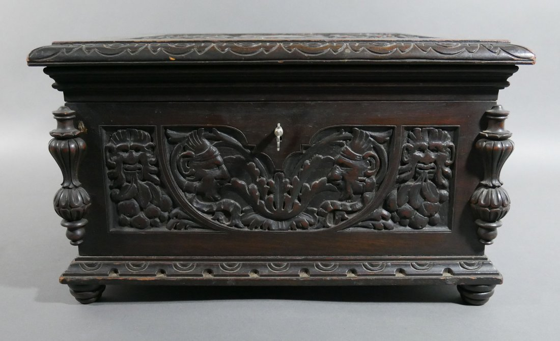 Old Victorian Carved English Oak Cigar Humidor - 2