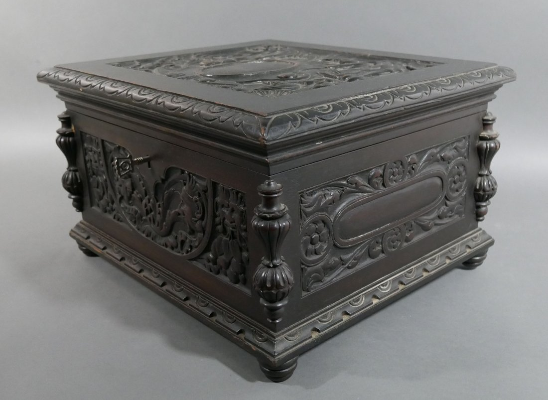 Old Victorian Carved English Oak Cigar Humidor - 3