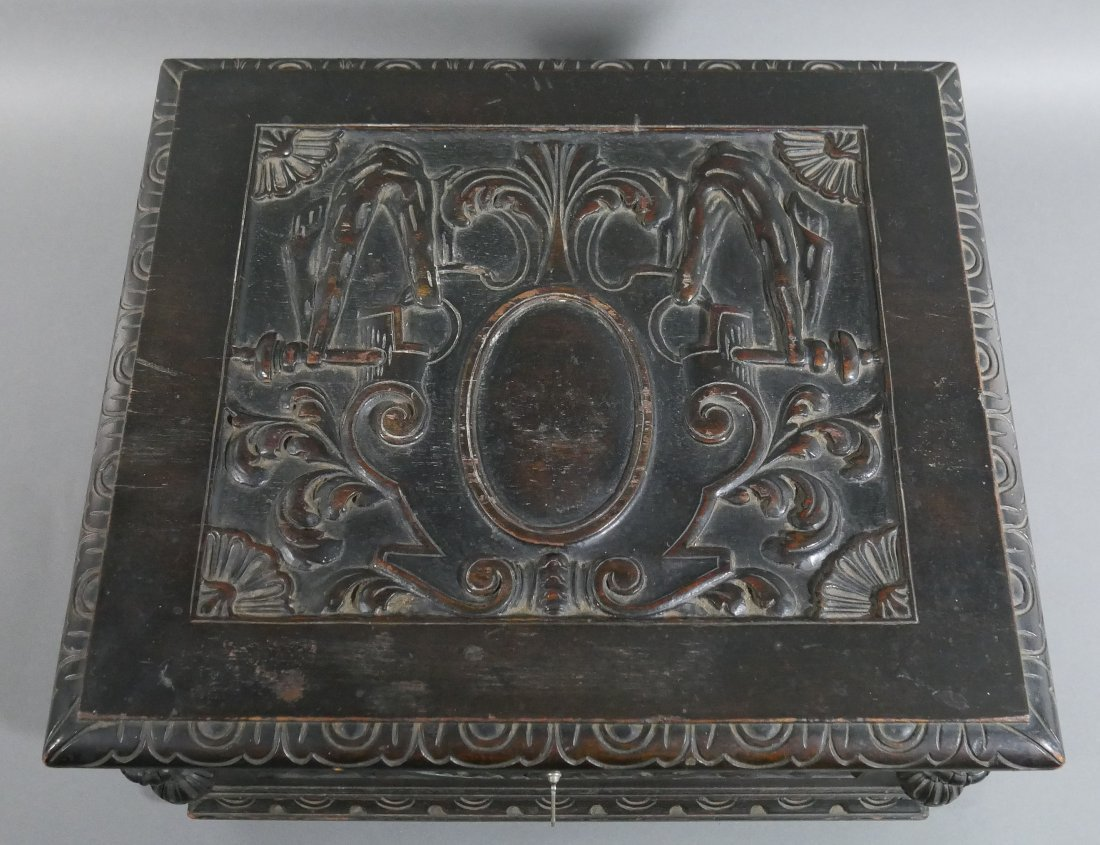 Old Victorian Carved English Oak Cigar Humidor - 4