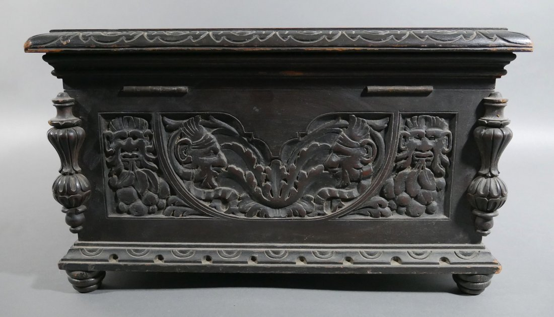 Old Victorian Carved English Oak Cigar Humidor - 6