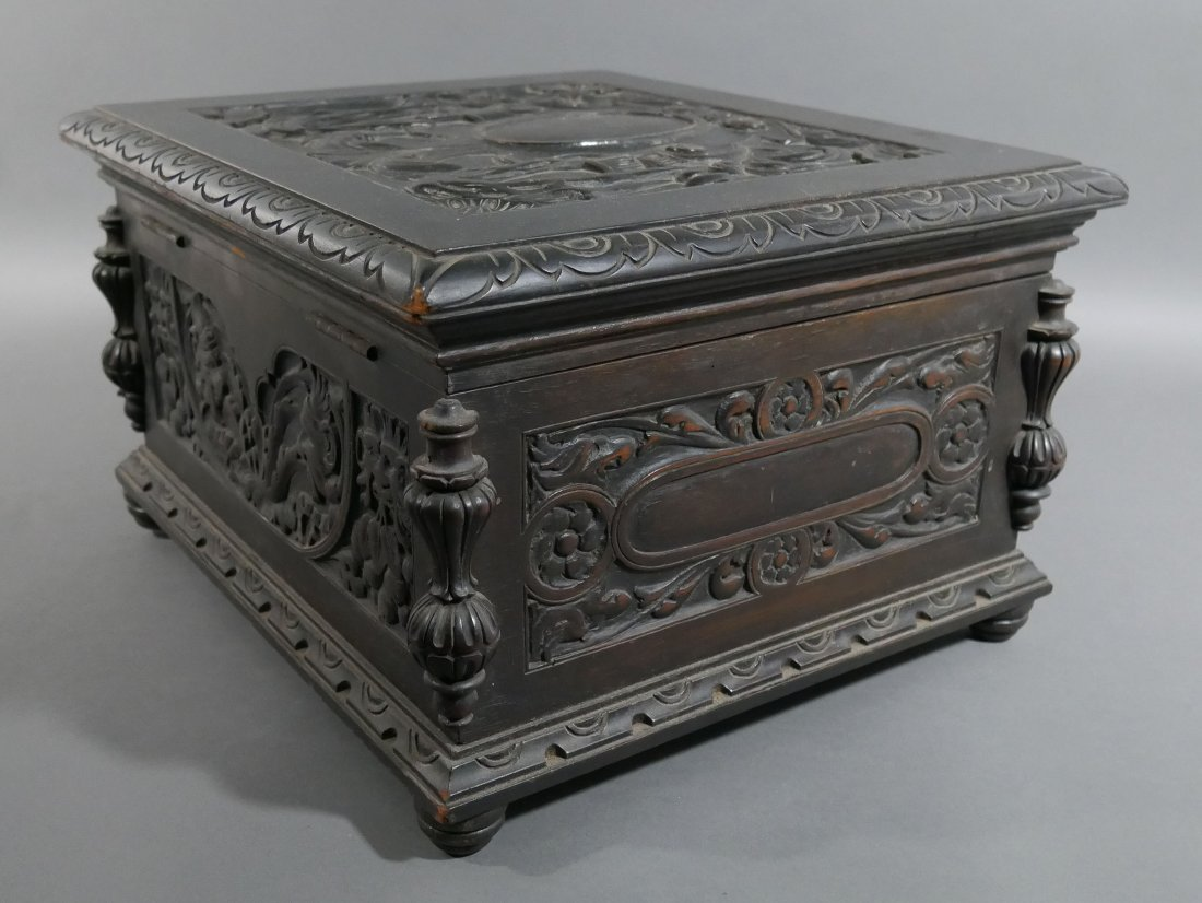 Old Victorian Carved English Oak Cigar Humidor - 7