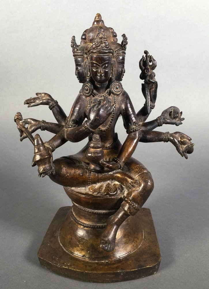 Vintage Bronze Brahma Hindu Deity Statue
