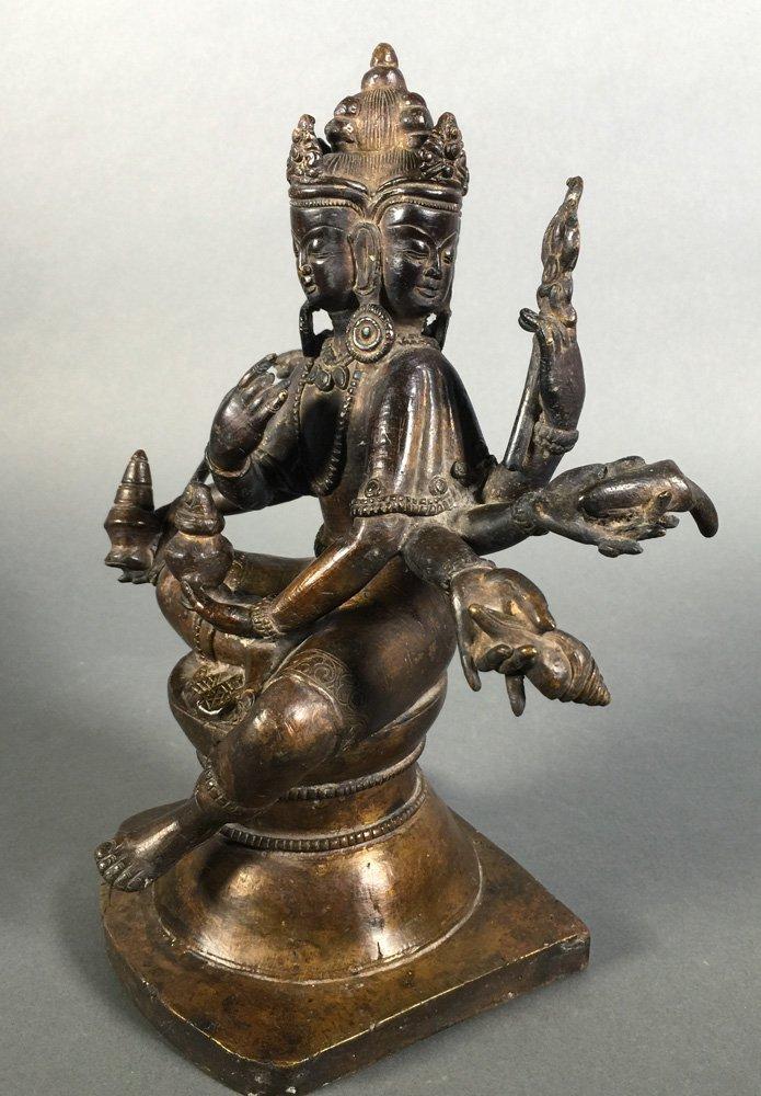 Vintage Bronze Brahma Hindu Deity Statue - 2