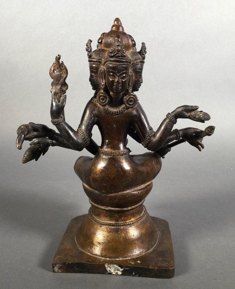 Vintage Bronze Brahma Hindu Deity Statue - 3