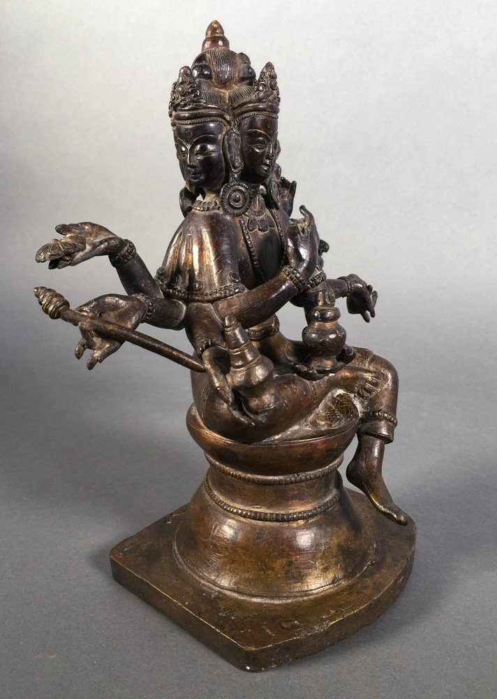 Vintage Bronze Brahma Hindu Deity Statue - 4