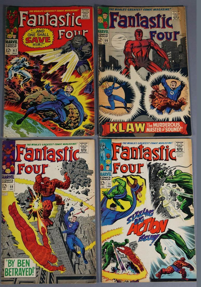 4 Marvel FANTASTIC FOUR Comics from 1966-67