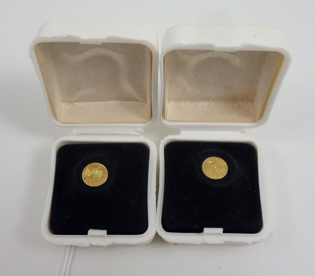 Two Miniature ST. GAUDENS $20 Gold Pieces