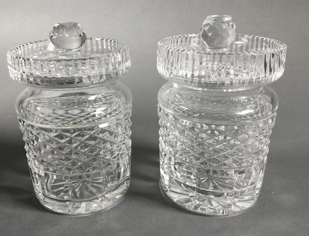 Pair of Waterford Crystal Jam Jars
