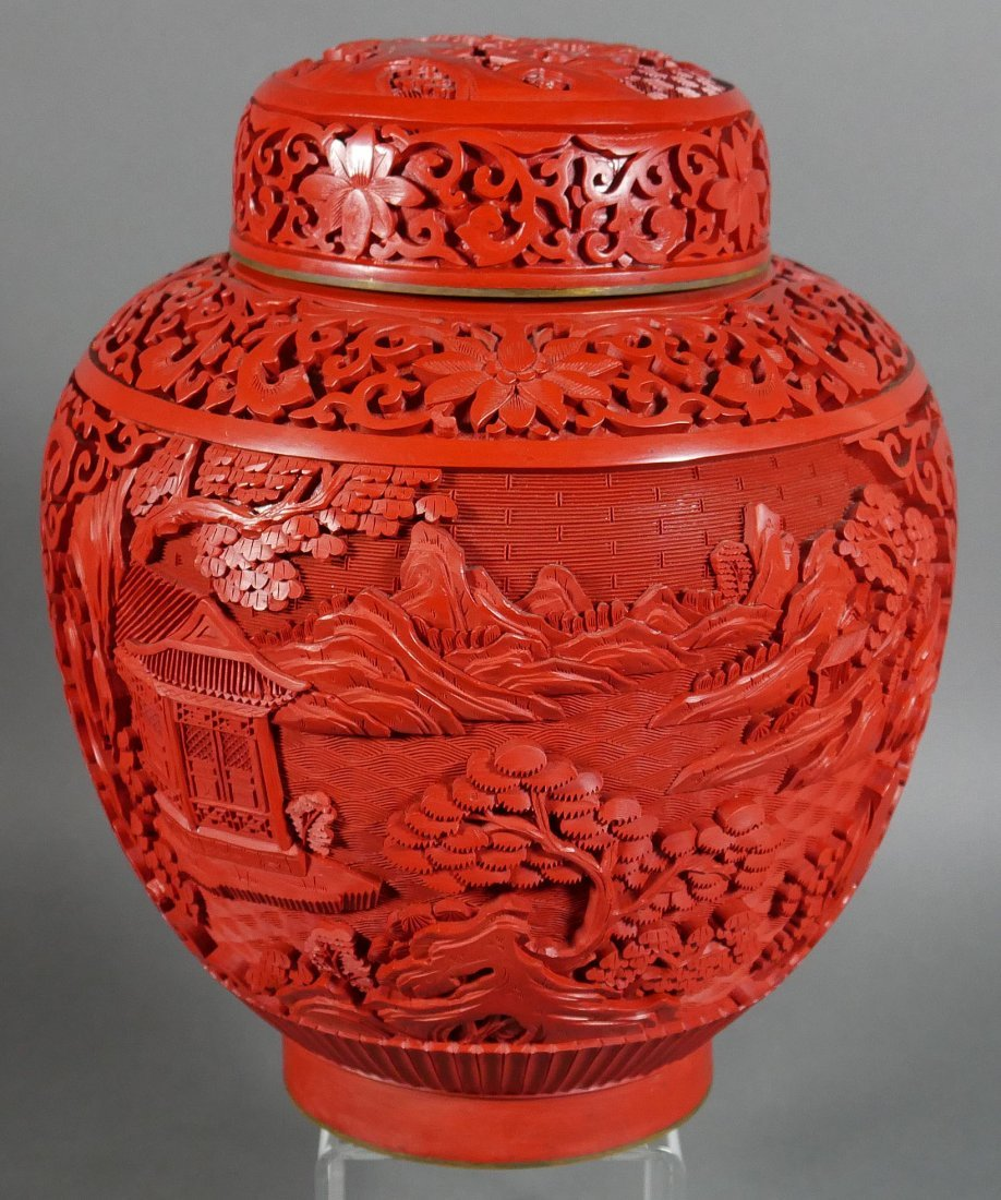 Ornate 20C Chinese Cinnabar Ginger Jar