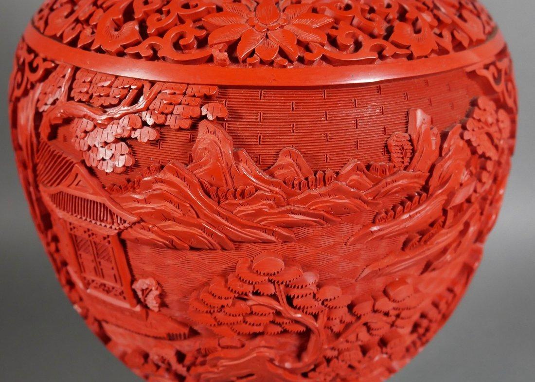 Ornate 20C Chinese Cinnabar Ginger Jar - 2