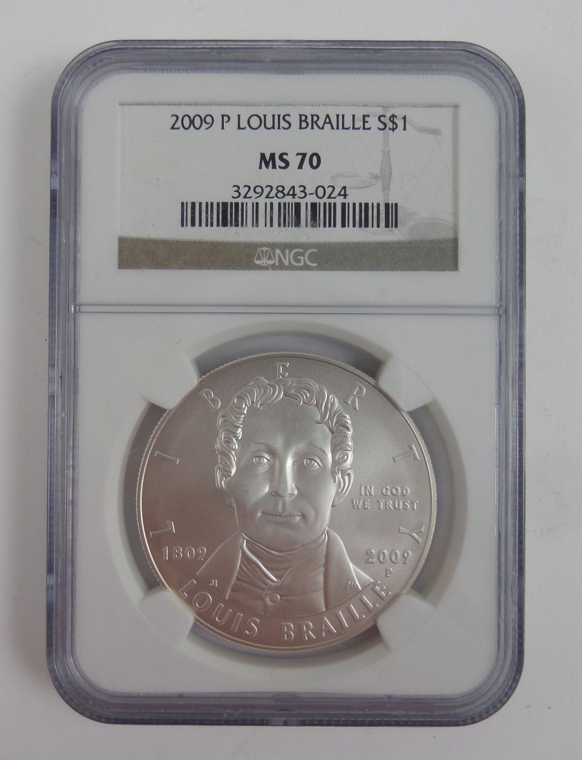 2009 Louis Braille $1 Silver Coin, MS-70 NGC