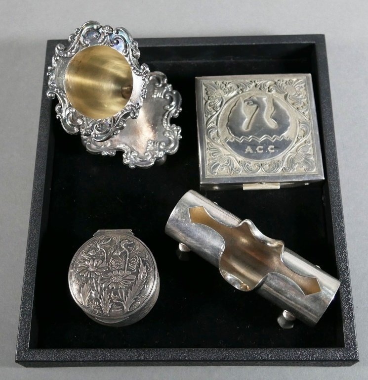 SILVERPLATE Tray Lot, Compact, Box and other