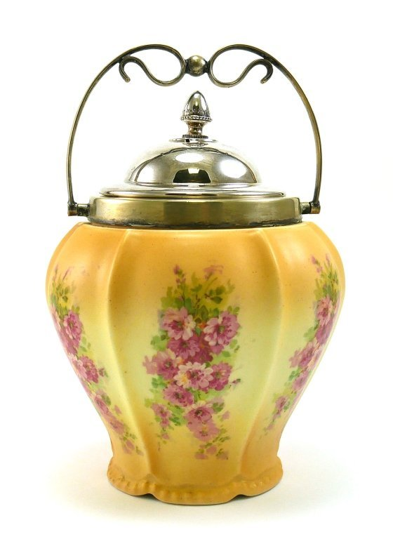 BISCUIT JAR Floral Bouquet Silverplate Handle