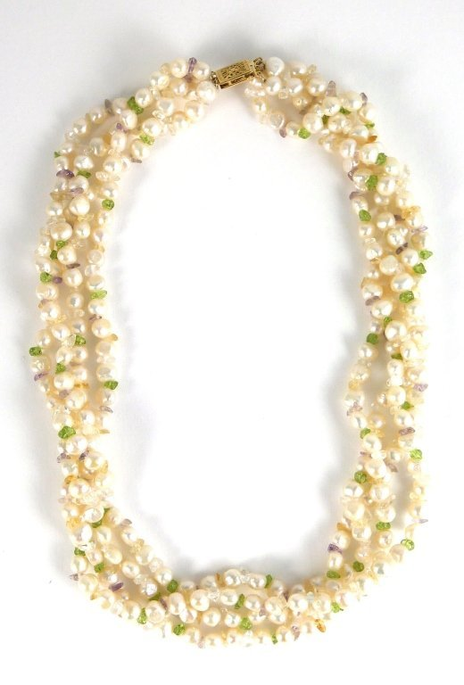 FRESHWATER PEARL Multistrand Necklace 14k Gold