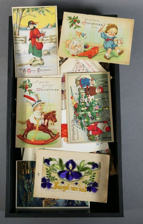 ANTIQUE CHRISTMAS POSTCARDS Tray Lot