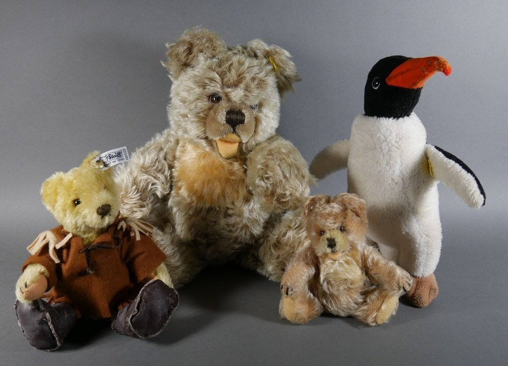 STEIFF Plush BEARS and PENGUIN, 4 pieces