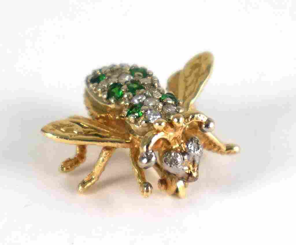 14k Gold BEE PIN w DIAMONDS & EMERALDS