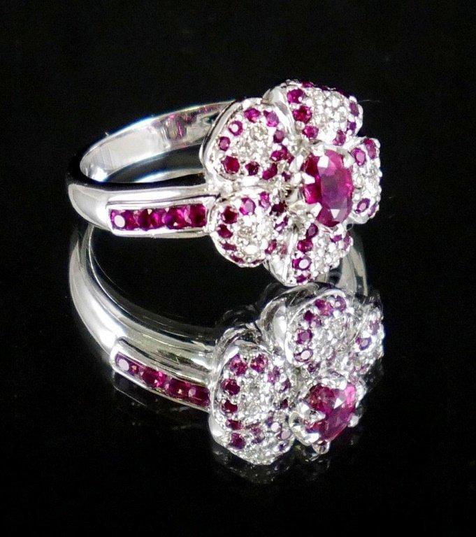 14k White Gold DIAMOND & RUBY Ring