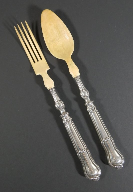 1840s French Sterling Silver Bone Spoon Fork Set - 2