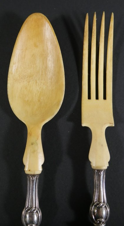 1840s French Sterling Silver Bone Spoon Fork Set - 4