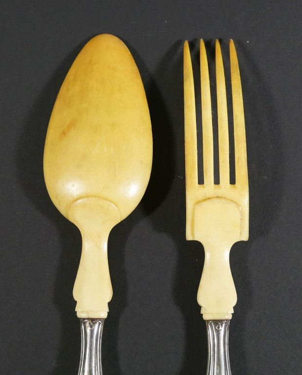 1840s French Sterling Silver Bone Spoon Fork Set - 5