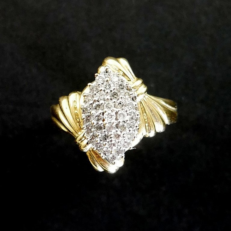 14k Yellow Gold Diamond Cluster Ring - 2