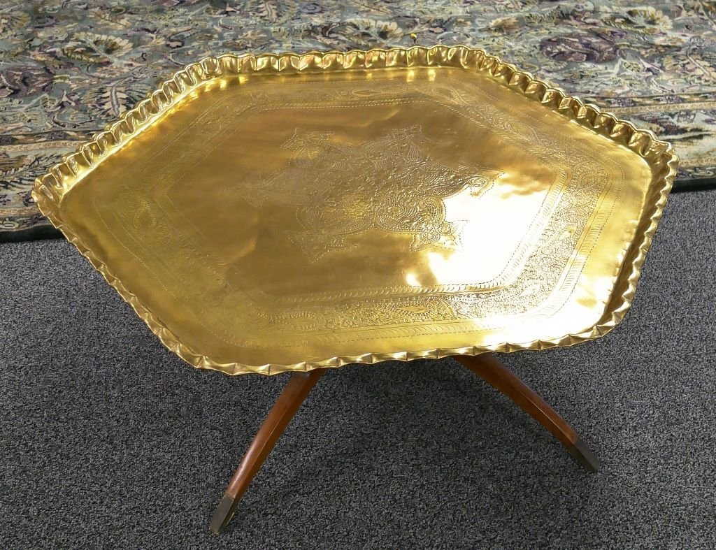 1950s Engraved Brass Islamic Octagonal Table