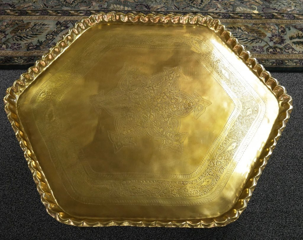 1950s Engraved Brass Islamic Octagonal Table - 2