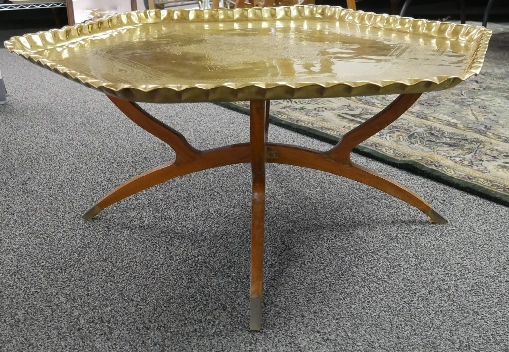 1950s Engraved Brass Islamic Octagonal Table - 3