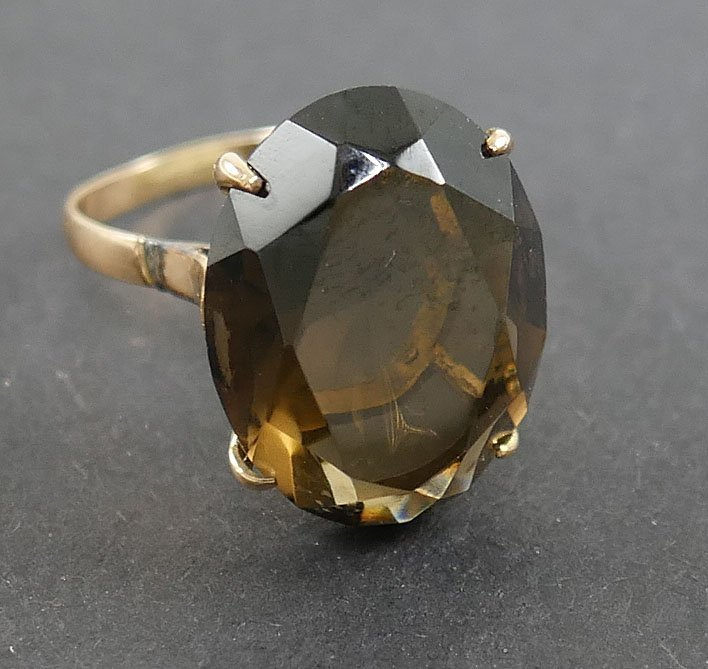 14k Gold SMOKY TOPAZ Ring